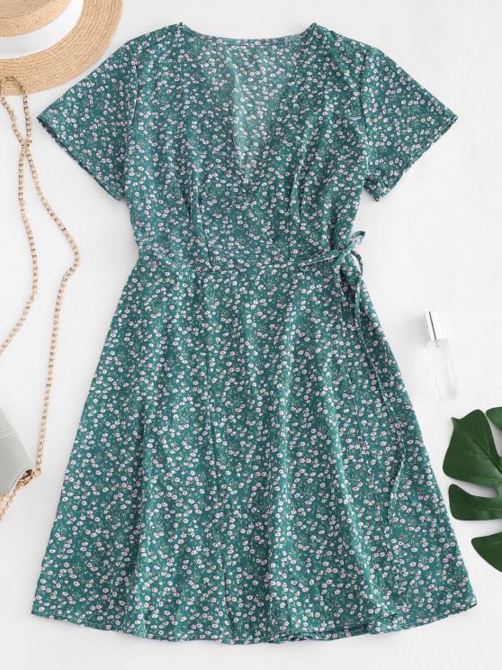 buy Ditsy Floral Wrap Dress - GREEN L