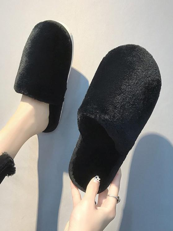 chic Closed Toe Plush Flat Slippers - BLACK EU 38