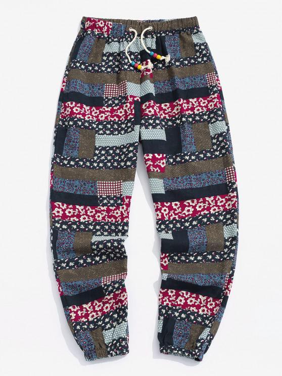 women's Bohemian Patchwork Print Drawstring Pants - MULTI 2XL