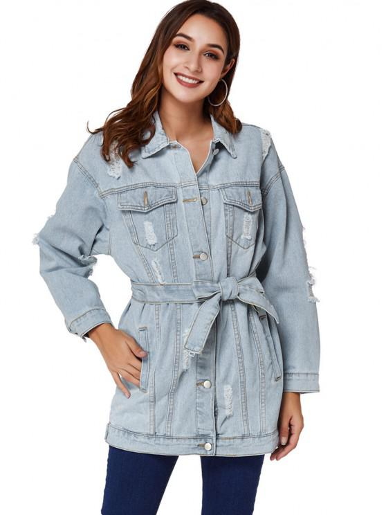 Boyfriend Ripped Light Wash Belt Denim Coat - أزرق فاتح L