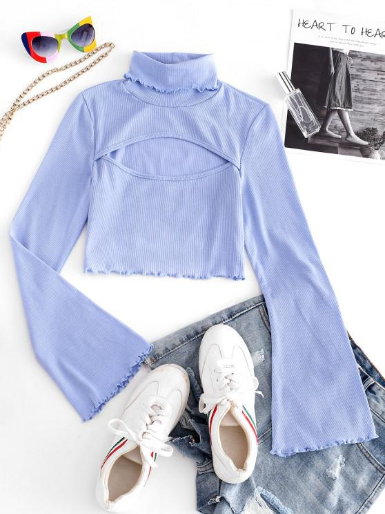 womens Ribbed Lettuce Trim Cut Out Tee - LIGHT BLUE S