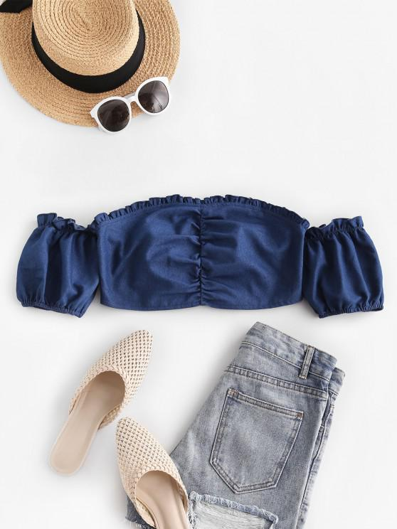 ZAFUL Off Shoulder Ruched Smocked Back Chambray Top - أزرق S