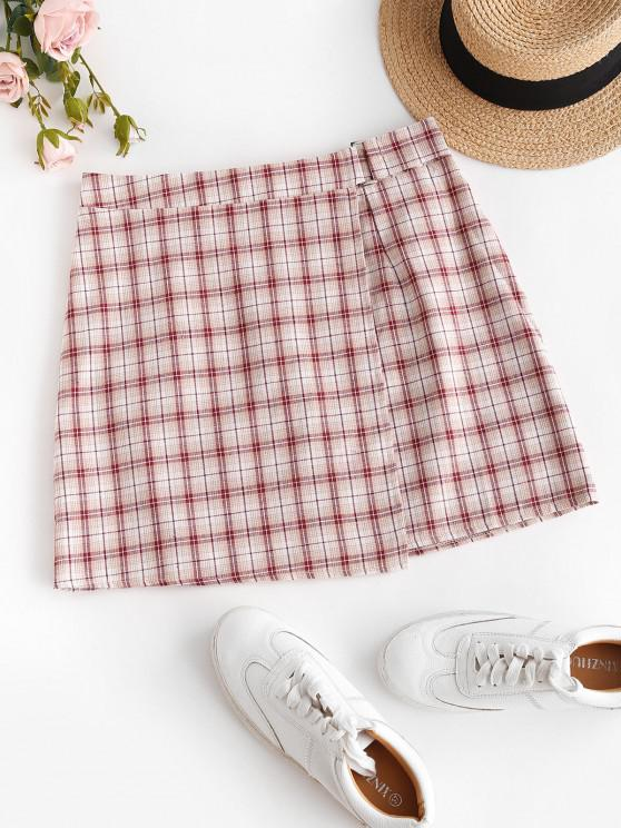 outfit ZAFUL Plaid Overlap A Line Skirt - LIGHT PINK S
