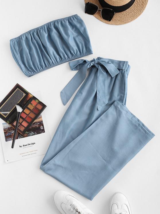 fancy ZAFUL Sheeny Chambray Bandeau Two Piece Set - BLUE S