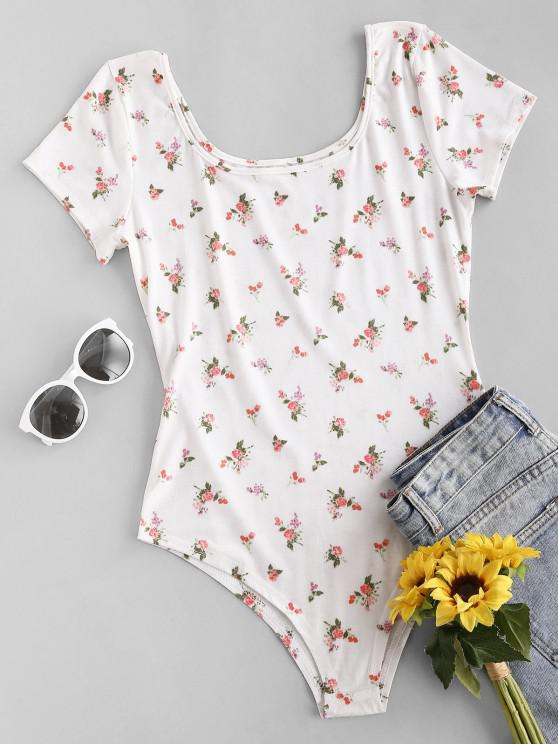 lady Floral Short Sleeve Tee Bodysuit - WHITE M
