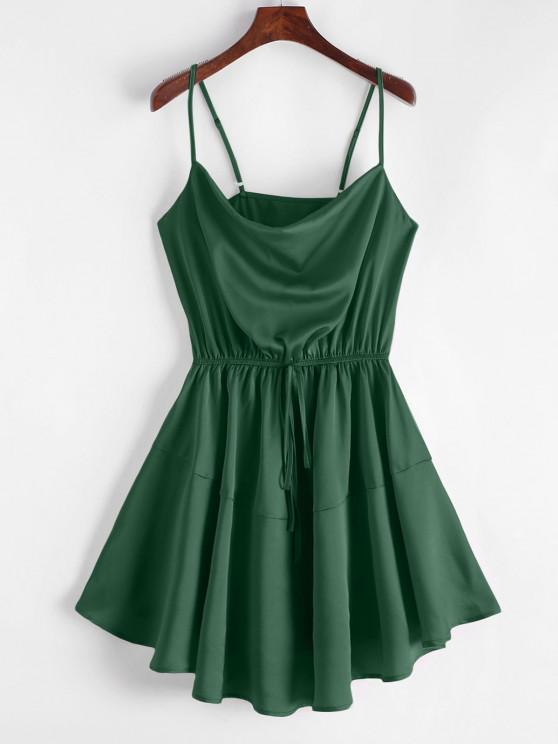 ZAFUL Silky Cowl Neck Dress Cami - Albastru verzui S