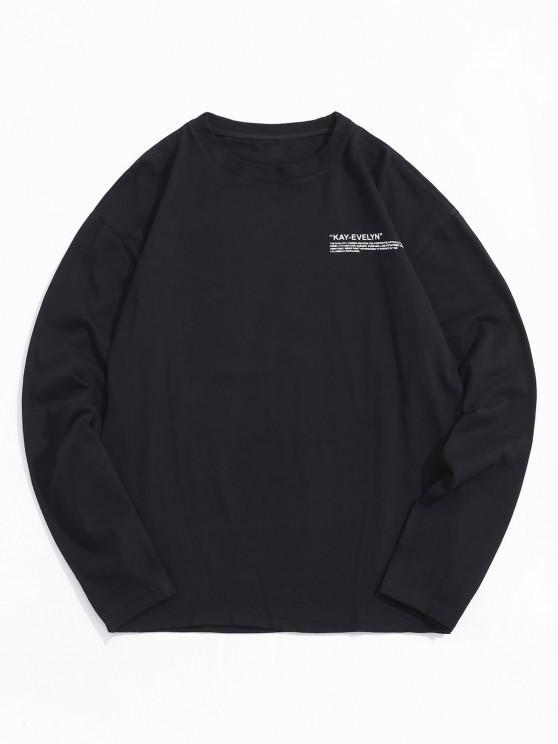 trendy Letter Print Crew Neck T Shirt - BLACK 4XL