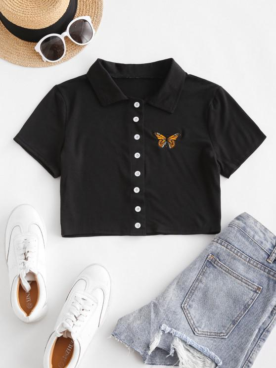 new Short Sleeve Butterfly Embroidered Crop Shirt - BLACK L