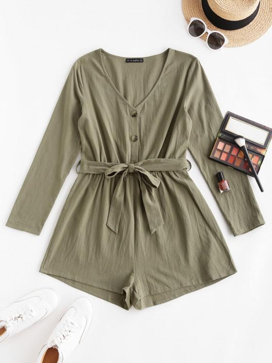 shops ZAFUL Button Front Long Sleeve Belted Romper - LIGHT GREEN M