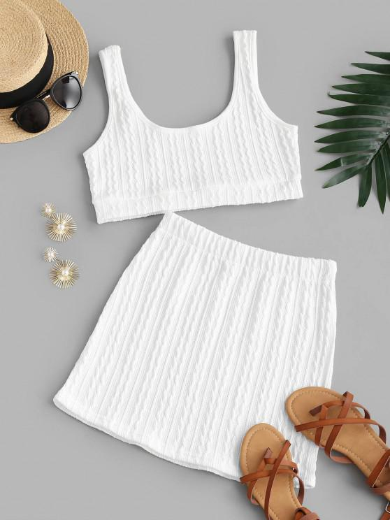 lady Textured Scoop Neck Two Piece Skirt Set - WHITE L