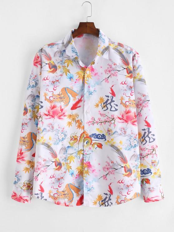 shop ZAFUL Chinese Dragon Floral Painting Retro Long Sleeve Shirt - MULTI 2XL
