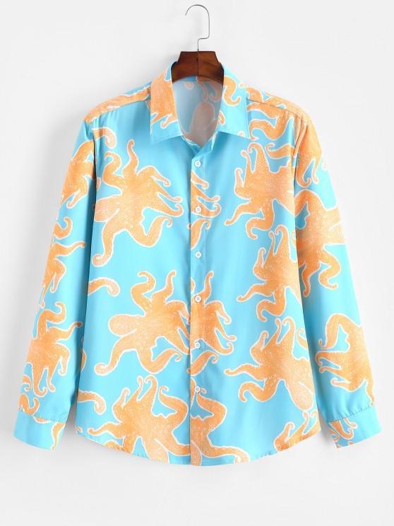 shops ZAFUL Funny Octopus Print Button Up Long Sleeve Shirt - MULTI M