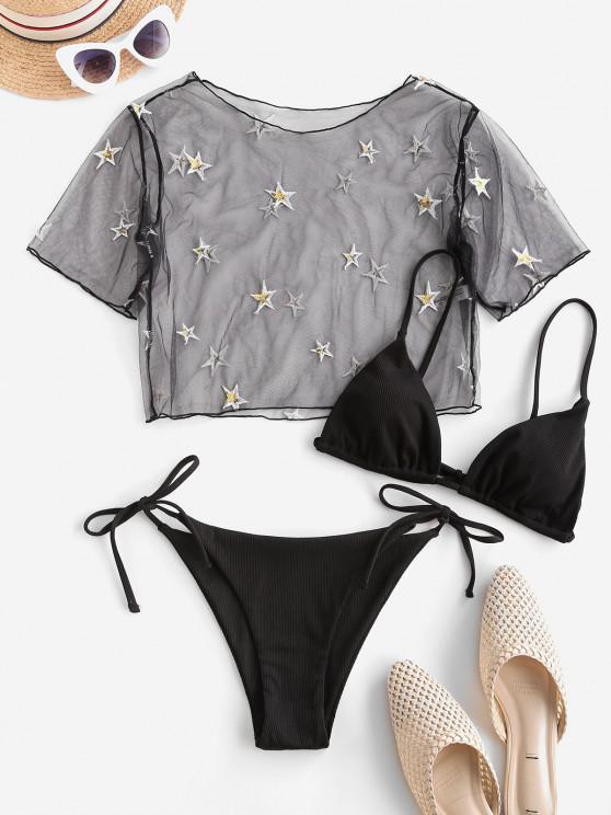 ZAFUL Ribbed Sequined Star Lace Three Piece String Bikini Swimwear - أسود S