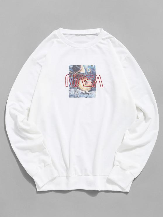 women's Universe Graphic Letter Embroidery Crew Neck Sweatshirt - WHITE 2XL