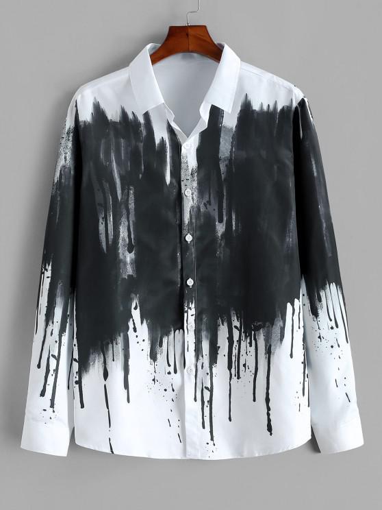 women ZAFUL Chinese Splatter Ink Print Button Up Vintage Shirt - WHITE M