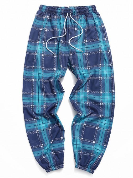 Calças de Punho Elástico com Padrão Xadrez - Azul pavão M