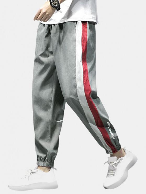 Letter Print Colorblock Panel Pants - اللون الرمادي XS