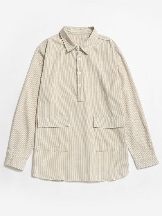 sale Striped Print Half Button Double Pocket Shirt - WHITE L