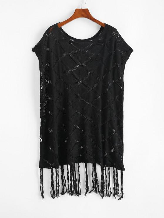 hot Open Knit Tassels Cape Cover Up Dress - BLACK ONE SIZE