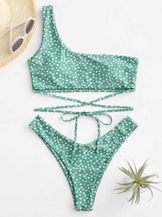 ZAFUL Ditsy Print One Shoulder Wrap Around Bikini Swimwear - اخضر فاتح L