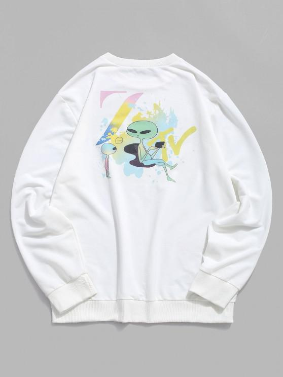 shop Graphic ET Print Rib-knit Trim Sweatshirt - WHITE XL