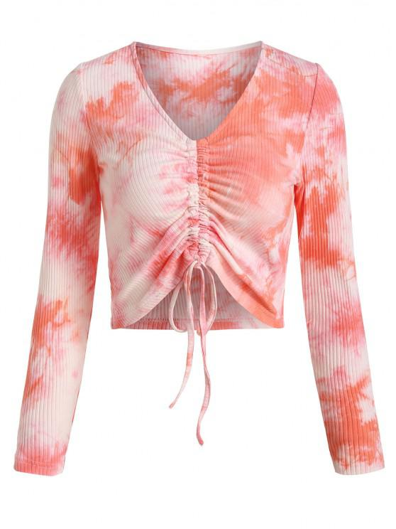 ZAFUL Cinched Tie Dye Ripped Crop Tee - وردي فاتح M