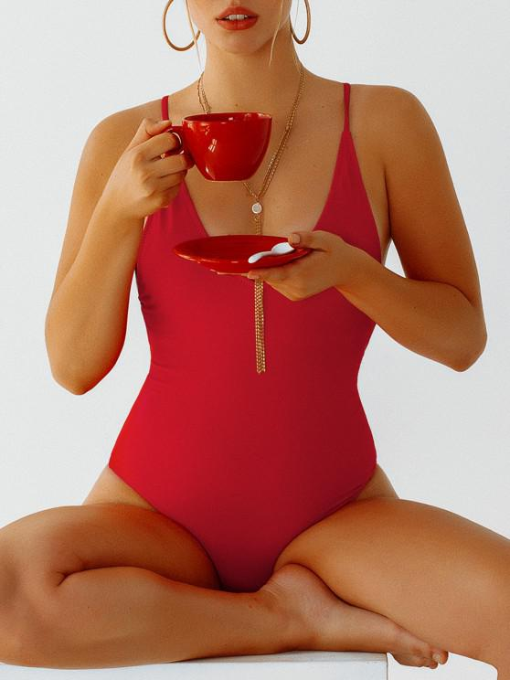 lady Self Tie Cross Back High Cut Swimsuit - RED S
