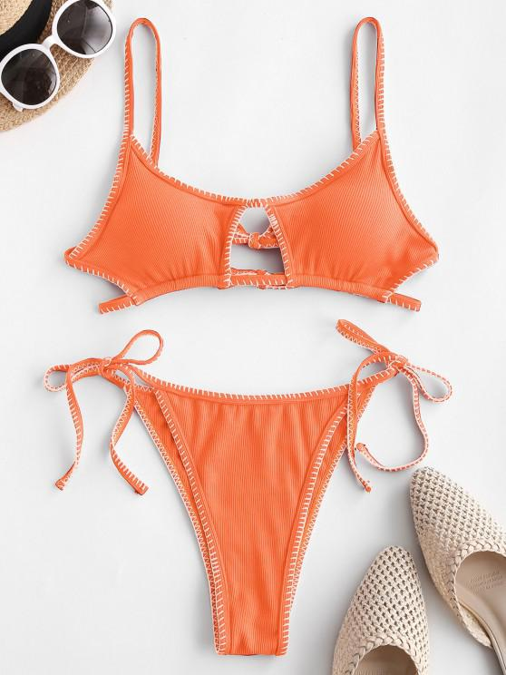 ladies ZAFUL Ribbed Keyhole Topstitching String Bikini Swimwear - DARK ORANGE S