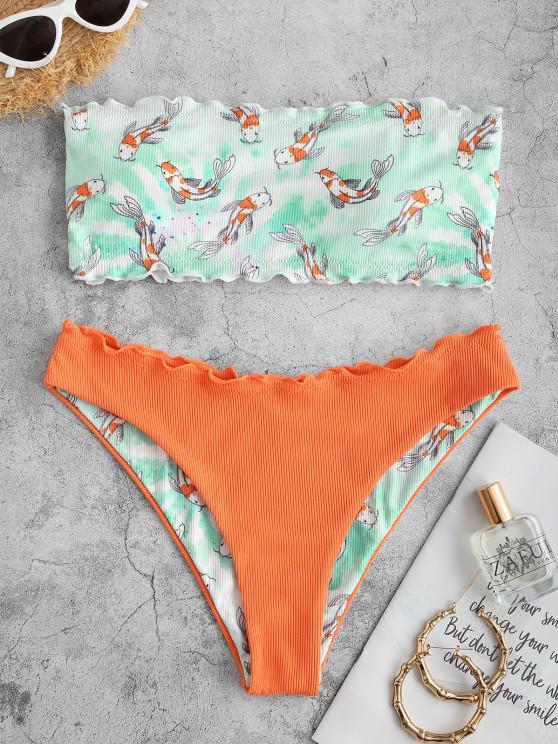 buy ZAFUL Fish Print Ribbed Lettuce Trim Bandeau Bikini Swimwear - ORANGE S
