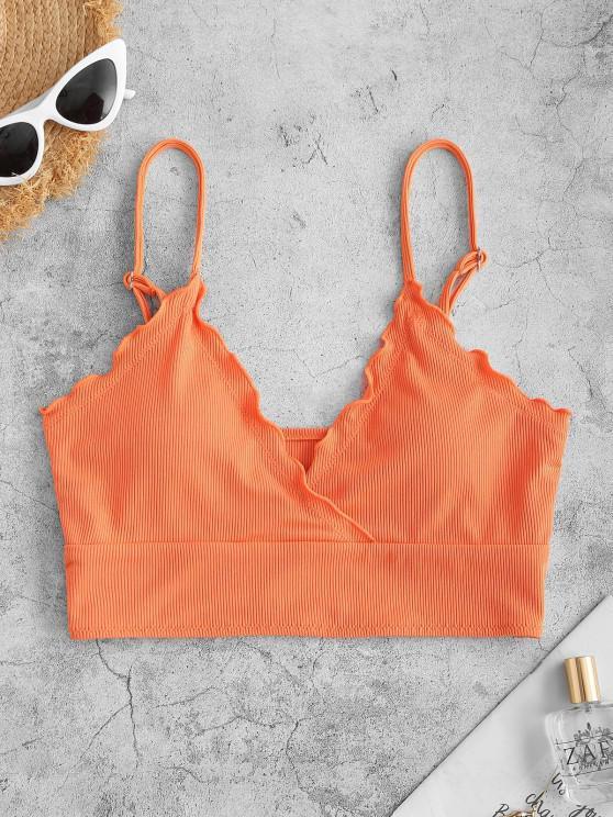 hot ZAFUL Ribbed Lettuce Trim Cropped Bikini Top - ORANGE S