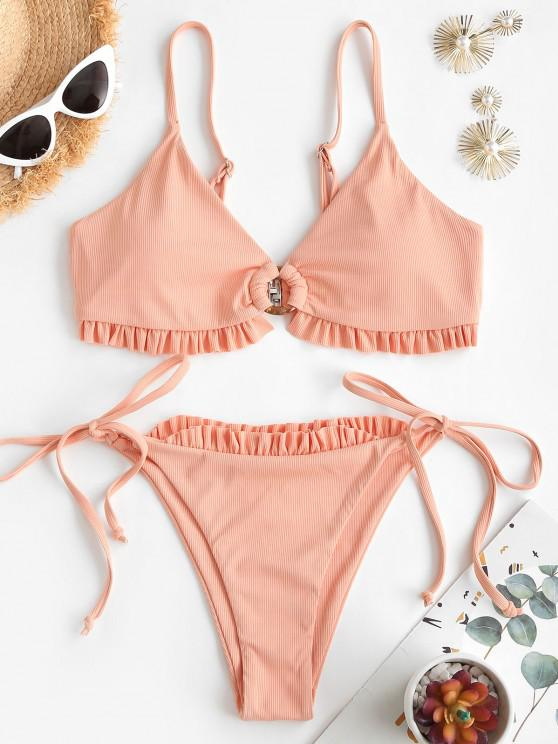 ZAFUL Ribbed Frilled O Ring Tie Tanga Bikini Swimwear - برتقالي فاتح S