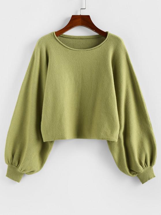 ZAFUL Plain Lantern Sleeve Short Sweater - اخضر فاتح S