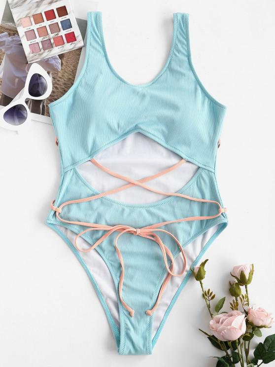 ZAFUL Cutout Ribbed Contrast Strap High Leg One-piece Swimsuit - الضوء الأزرق S