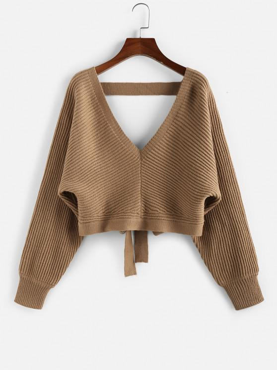 ZAFUL Tie Back Plunging Batwing Sleeve Sweater - قهوة L