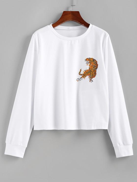 ZAFUL Tiger Print Pullover Sweatshirt - أبيض L