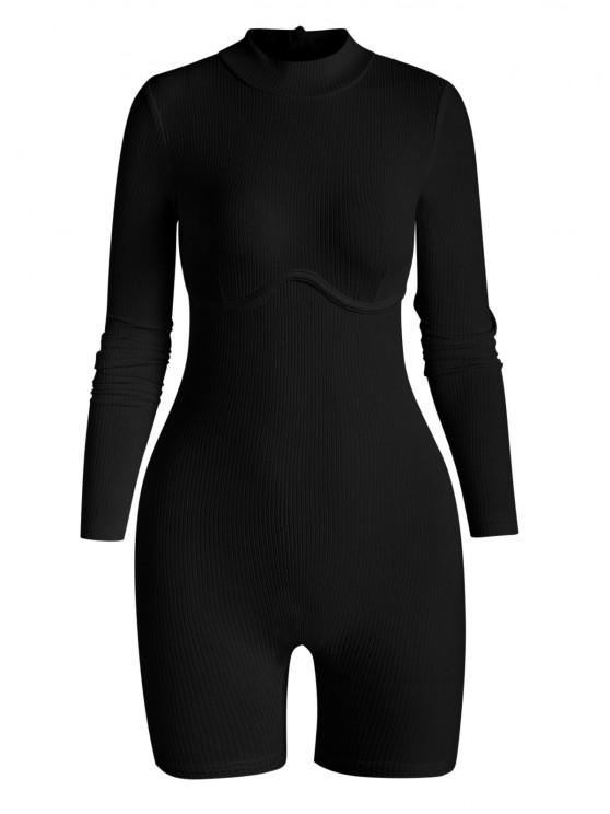 women's Ribbed Underbust Detail Mock Neck Skinny Romper - BLACK M