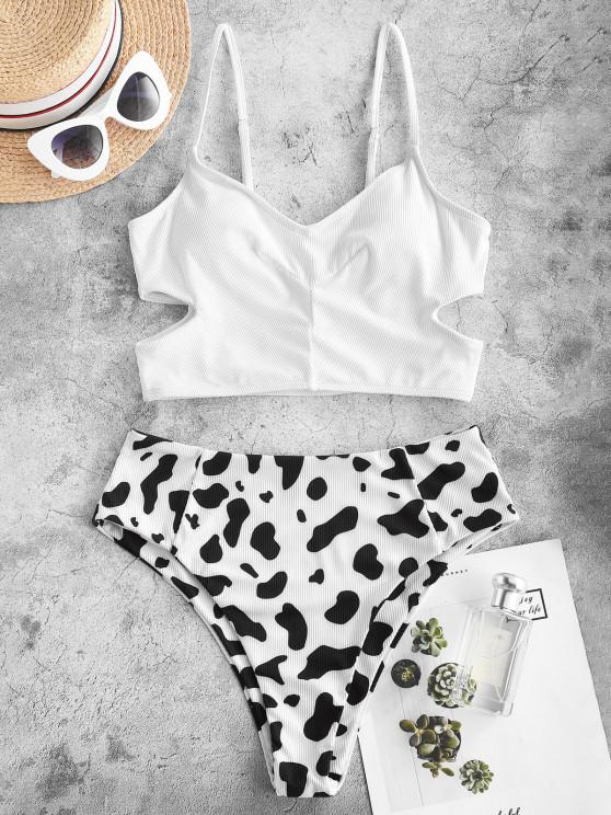 ZAFUL Cow Print Ribbed Cutout Tankini Swimwear - أبيض XL