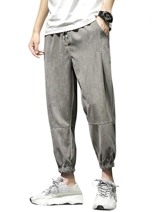 Stitching Elastic Waist Beam Feet Pants - اللون الرمادي XS