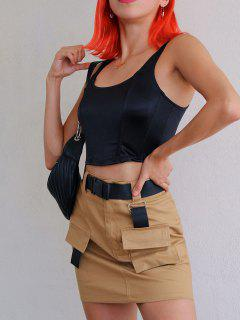 ZAFUL Buckled Belt Utility Skirt - Tan M