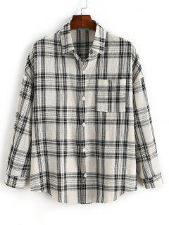 Plaid Pocket Patch Drop Shoulder Shirt - Black 2xl