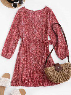 ZAFUL Ditsy Print Plunge Ruffle Wrap Dress - Red Xl