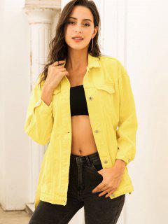 Colored Belt Denim Coat - Yellow M