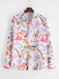 ZAFUL Camisa De Manga Comprida Com Pintura De Dragão Chinês - Multi L