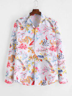 ZAFUL Chinese Dragon Floral Painting Retro Long Sleeve Shirt - Multi S