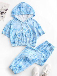 Tie Dye Sports Hooded Pocket Joggers Set - Light Blue L