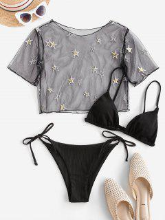 ZAFUL Ribbed Sequined Star Lace Three Piece String Bikini Swimwear - Black S