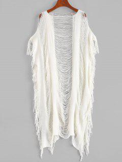 RobeEnveloppéeDéchirée Frangée En Tricot - Blanc