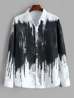 ZAFUL Chemise Vintage Boutonnée Peinture Eclabousséed'Encre Chinoise Imprimée - Blanc S