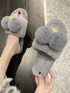 Cute Animal Faux Fur Flat Slippers - Gray Eu 38