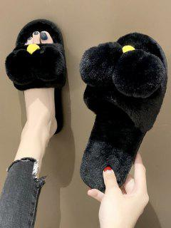 Cute Animal Faux Fur Flat Slippers - Black Eu 38